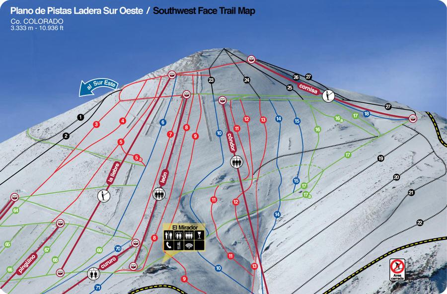 Mapa De Pistas El Colorado Centro De Ski Chile - Mapa de colorado usa